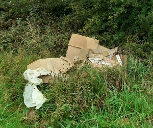 Fly tipped rubbish in Astwith
